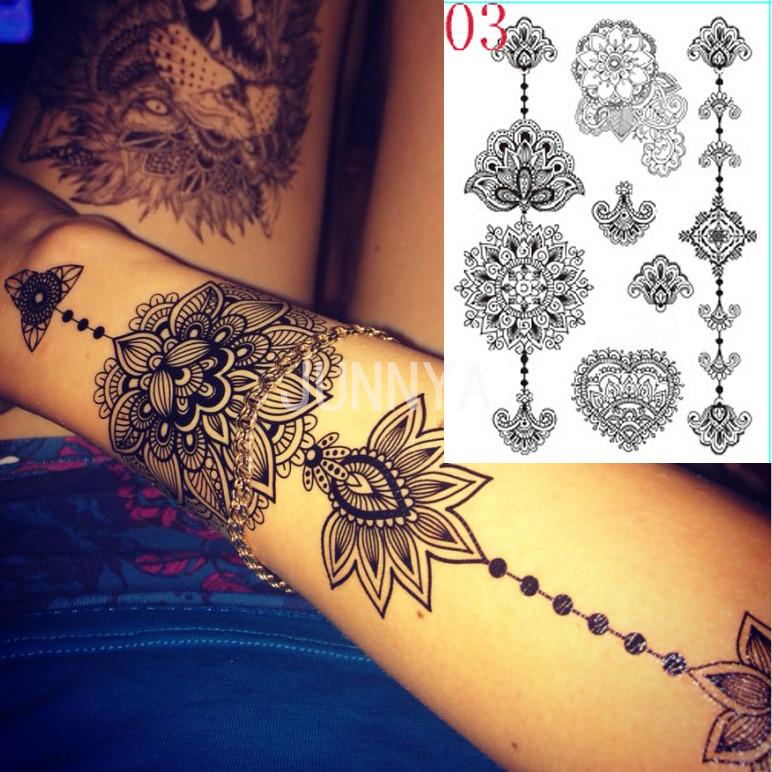 Tatuajes Henna El Salvador wholesale 21x15cm waterproof tattoos black ink henna tattoo lace