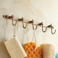 US Shipping Antique Barss Towel Hooks With 5 Hangers 30 Cm Length Brushed Bathroom Wall Mounted
