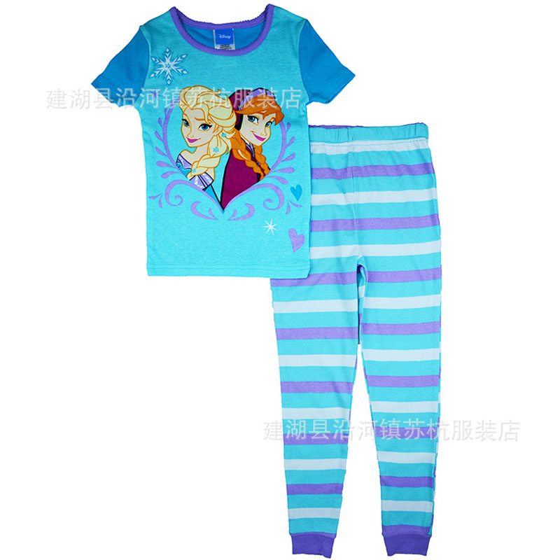 2016 Summer Baby Girls 2-6X cartoon clothes set princess elsa anna printed cotton t-shirts + pants 2pc pajamas set sleepwear(China (Mainland))