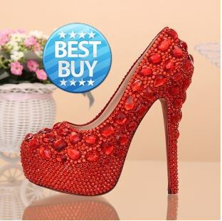Aesthetic red rhinestone wedding shoes ultra high heels thin heels platform shoes bridal shoes formal dress shoes red sole(China (Mainland))