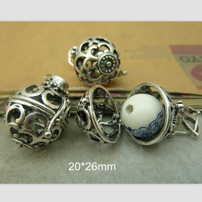 Free Shipping - 2 pcs/lot Antique Silver 20*26mm hollow out Wishing Box Locket Pendant Jewelry findings openable(China (Mainland))