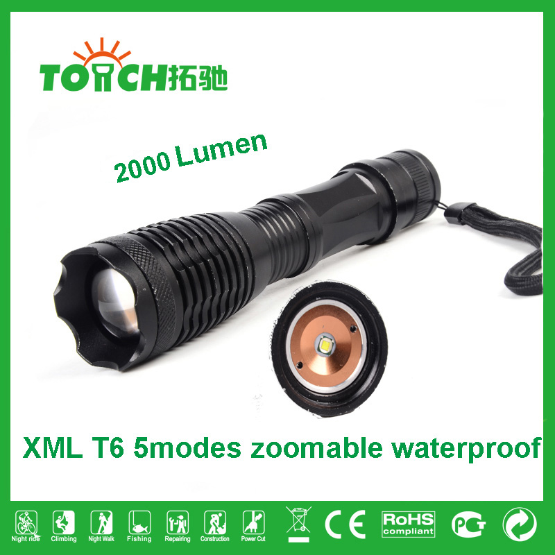 LED Flashlight 2000 lumens CREE XML T6 Tactical LED Torch Lights 10W Ultra Bright with Strobe&SOS 5 Mode Torches Lamp 8061(China (Mainland))
