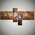 abstract modern 4 panel canvas wall art hand painted Acrylic Black red decorative oil painting on