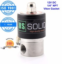 "U.S. Solid 1/4"" Stainless Steel  Electric Solenoid Valve 12 V DC NPT Thread Normally Closed water, air, diesel... ISO Certified(China (Mainland))"