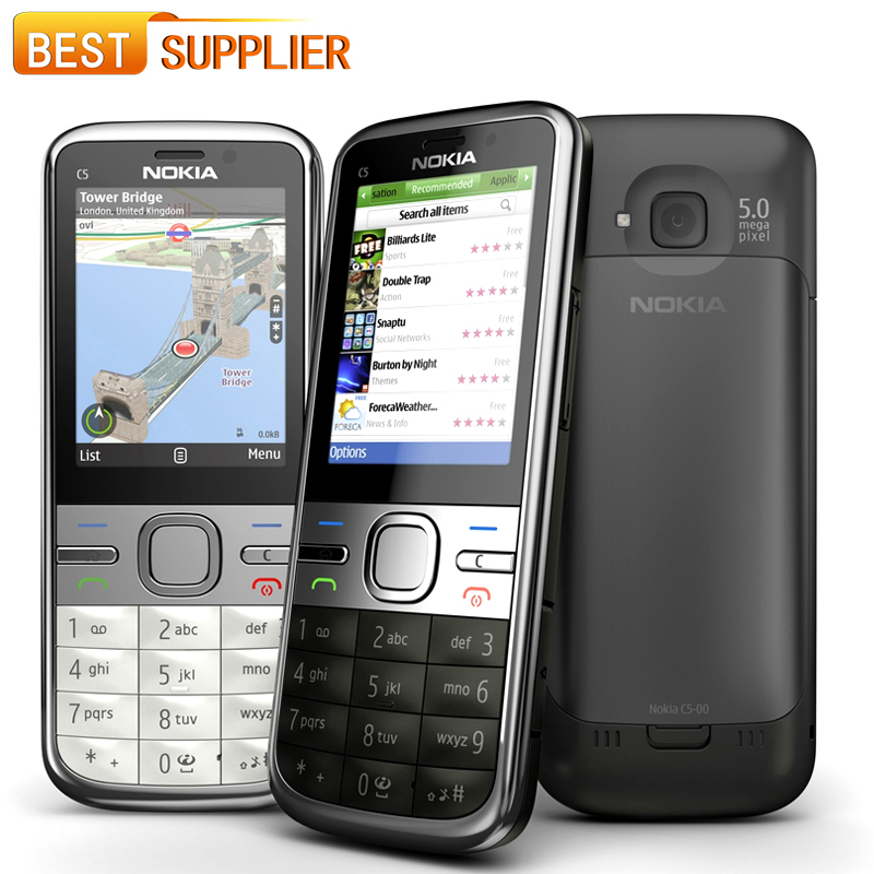 2016 hot sale Original Unlocked Nokia C5-00 Cell Phone 3.2MP / 5MP Camera GPS Bluetooth Nokia C5-00i Mobile Phone and shipping(China (Mainland))