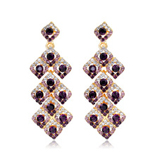 Gorgeous Purple Crystal Earrings Fashion Jewelry Glass Rhinestone Long Drop Earring Water Drop Eardrop For Women brinco de boca(China (Mainland))