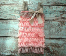 Free Shipping Girl Shabby Chic Light Pink Floral Satin and Petti Ruffle Romper Photo Prop Girl Outfit MOQ 1pc(China (Mainland))