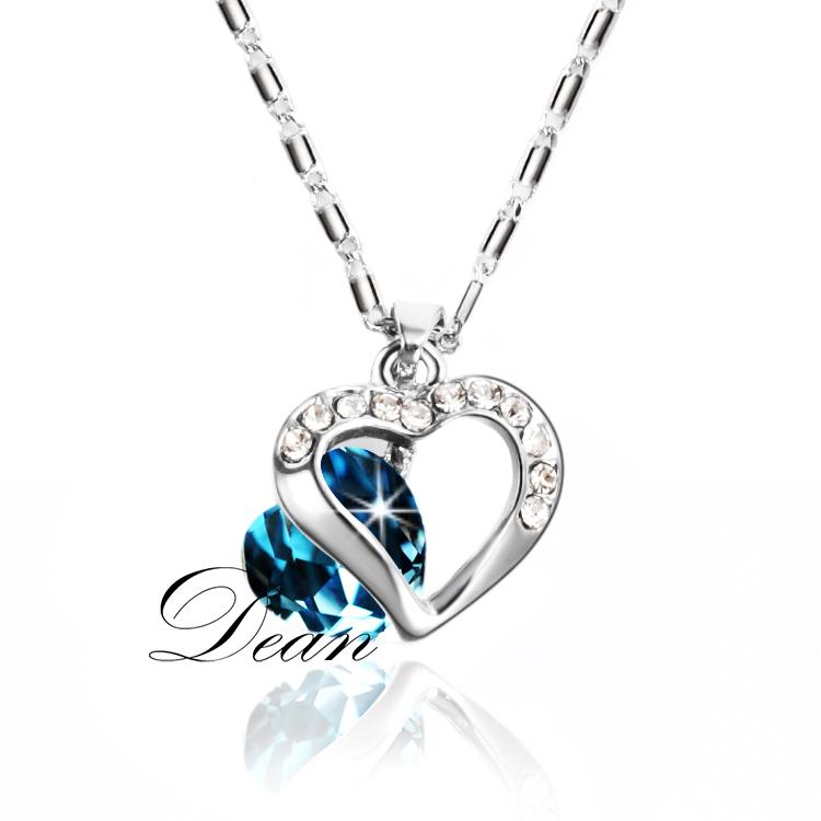 Jewelry necklaces & pendants CZ Diamond Sapphire Bijoux Wedding Chain Heart Cute Accessories Punk Rock Bijouterie MGN589(China (Mainland))
