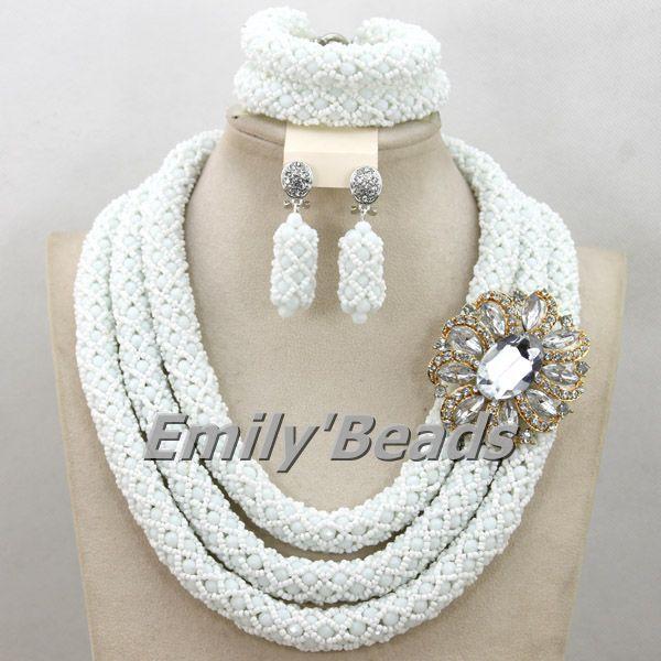 White African Beads Jewlery Sets Indian Wedding Nigerian Bridal Jewelry Sets Costume African Jewelry Sets Free Shipping AMJ090(China (Mainland))