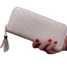 Durante mucho tiempo, las mujeres cartera Cartera de cuero bolso de embrague de chequera monedero borla bolso con cremallera titular de la tarjeta Cartera de cuero(China)
