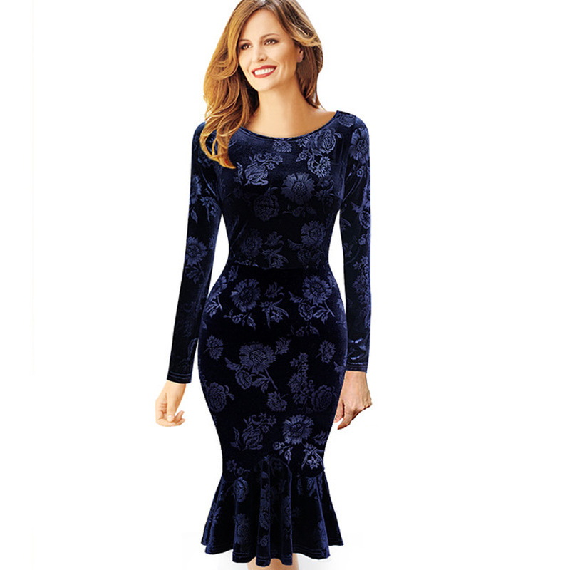 2016 Women Sexy Blue Flower Print Casual Vestidos Summer Dress,Cocktail Party Bodycon Office Work Mermaid Dress(China (Mainland))