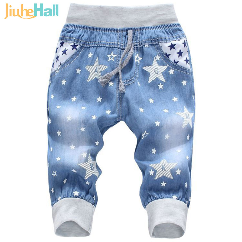 Hot Sale 2016 New Kids Jeans Elastic Waist Straight Bear Pattern Denim Seventh Pants Retail Boy
