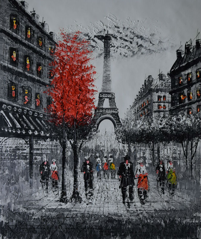 Handpainted Palette KnifeTextured Enropean Landscape Oil Painting White Black Paris Street Painting Wall Picture for Living Room(China (Mainland))
