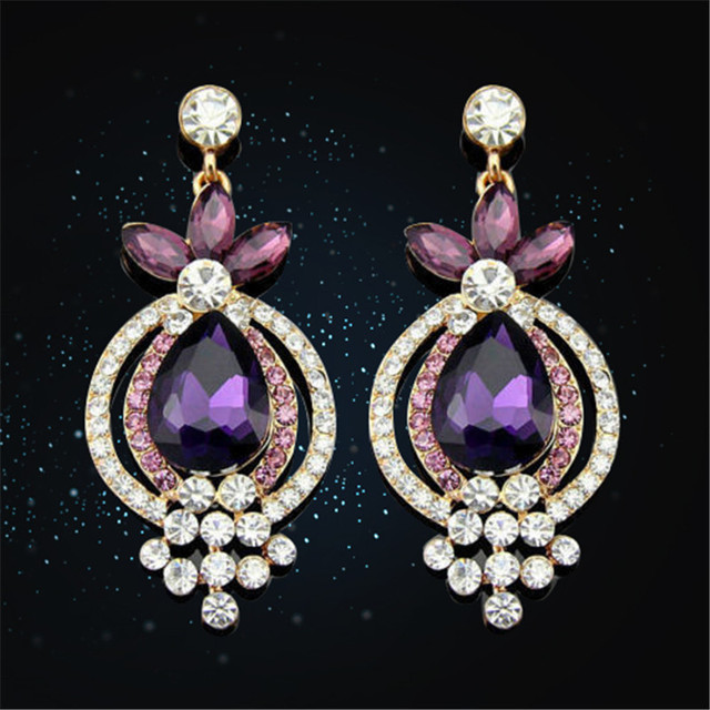 1 пара новинка женщины леди элегантный фиолетовый кристалл горного хрусталя ухо серьгу хороший день святого валентина подарок