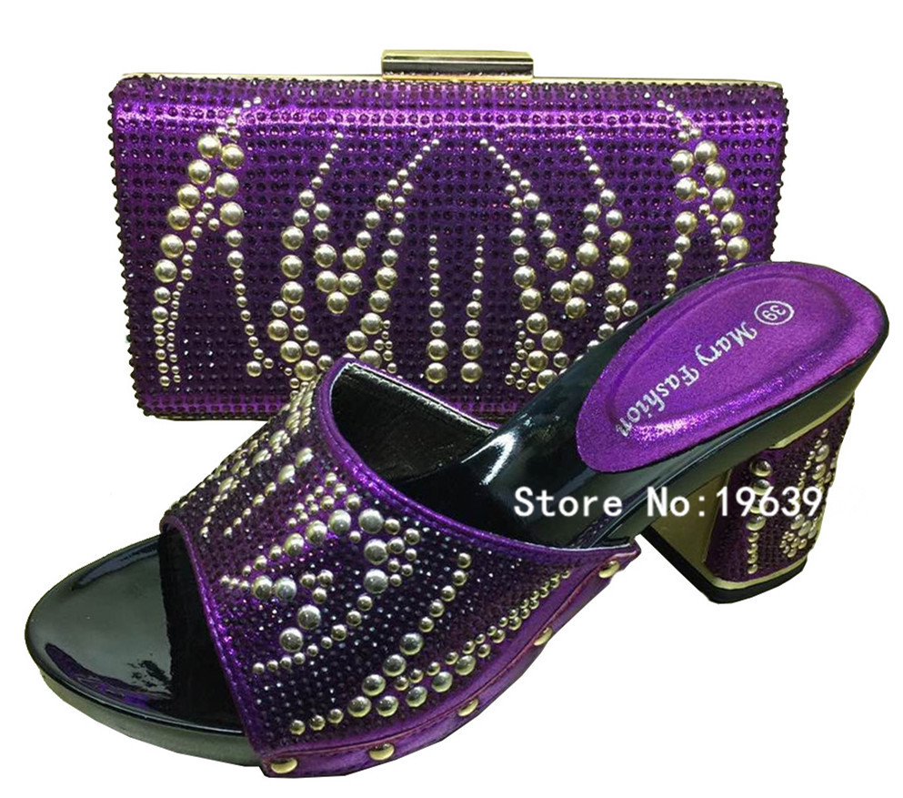 Фотография 2016 New Shoes And Bags Set!Italian Shoes With Matching Bags and African Women Shoes and Bags Sets MF213 Purple (Szie:37-42)