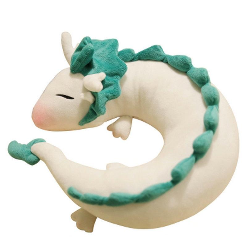 25*10cm Creative white Chinese dragon Plush Toys Dinosaur cloth doll gray doll neck pillow cushion stuffed plush(China (Mainland))