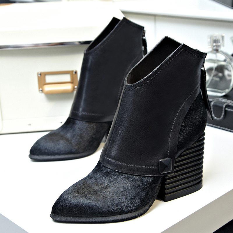 2015 new Winter Women Ankle Boots High Heels Genuine Leather Horsehair Thick Heel Ankle Boots For Women Boots Female snow Boots