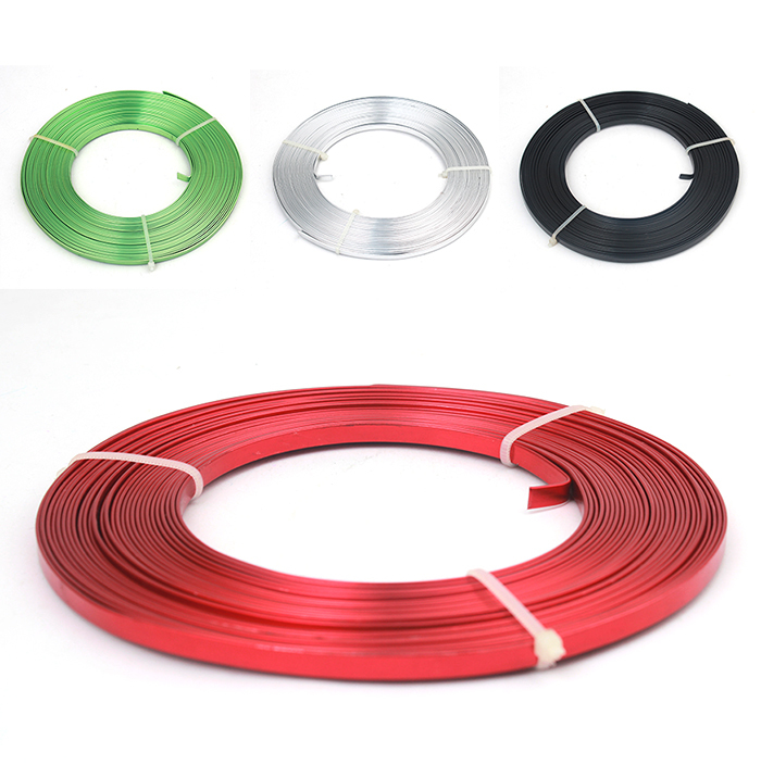 Flat Anodized Aluminum Wire, Green Red Black Silver Gold Blue Rose Brown Purple Plated Soft 5mmx1mm 10m/coil 11 colors(China (Mainland))