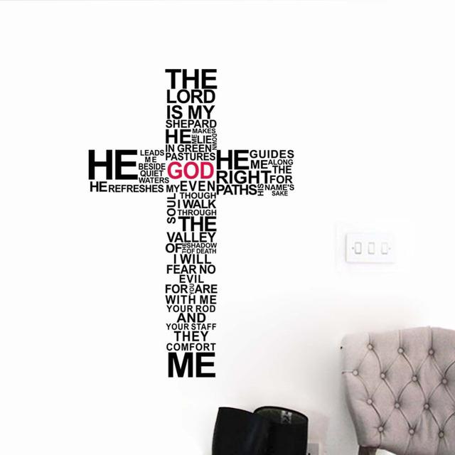 Цена от производителя мультфильм хоккей-игрока-типография христианский бог крест стены искусства стикера иисус христос псалом молиться библия спальня росписи
