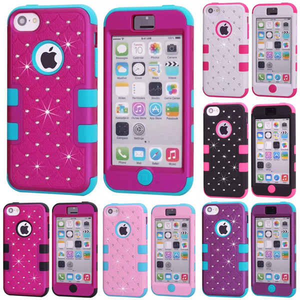 For Apple iphone 5C Case Hybrid Bling Diamond Case 3 in 1 High Impact Heavy Duty Hard Rugged Rubber Case Cover For iphone5C(China (Mainland))