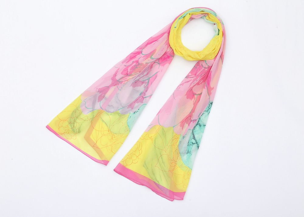 New Foulard Desigual Spring Summer Thin Silk Scarve Gradient Fading Color Floral Pattern Chiffon Georgette Women Scarf(China (Mainland))