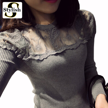 Black Knitted Lace Blouse Women Long Sleeve Shirts Elegant Blouses Feminina 2015 New Fashion Autumn Winter Sexy Perspective Tops