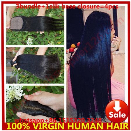 3 bundle with silk base closure with 3 bundles malaysian straight hair with silk base closure 3 bundle with silk base closure <br><br>Aliexpress
