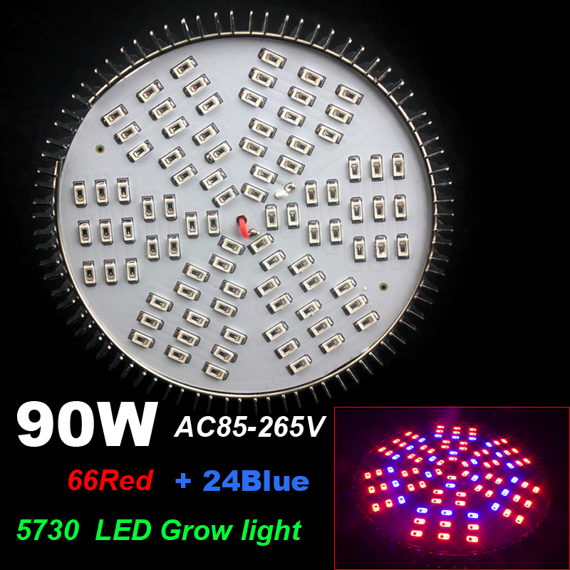 Full Spectrum 90W 90leds LED Grow Light E27 AC85~265V SMD5730 66Red+ 24Blue for Flower plant Aquarium Hydroponic,Lamp for Plants(China (Mainland))