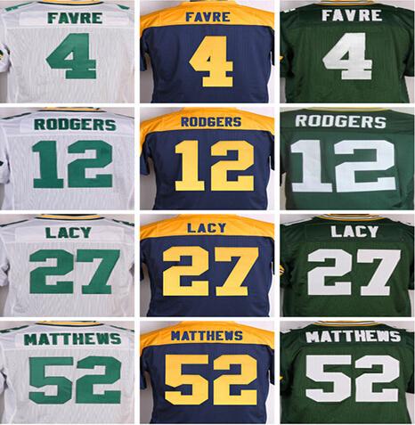 Best quality,Men's 4 Brett Favre 12 Aaron Rodgers 18 Randall Cobb 27 Eddie Lacy 52 Clay Matthews 87 Jordy Nelson elite jersey(China (Mainland))