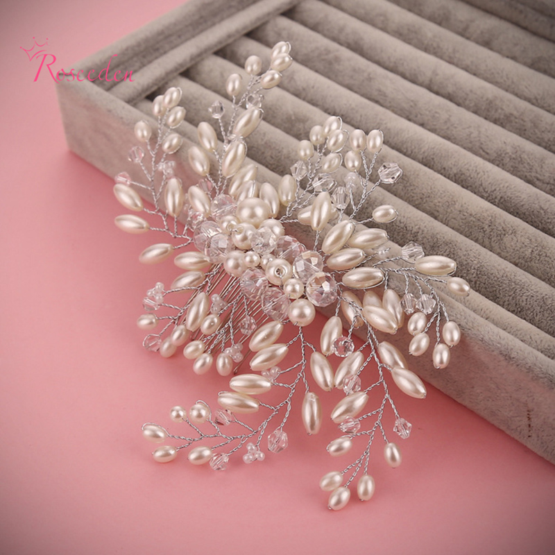 Wedding Hair Comb Accessories Bridal Luxury Charms Pearl Jewelry Handmade Clear Crystals Beads Bridal Wedding Tiara Combs RE593(China (Mainland))