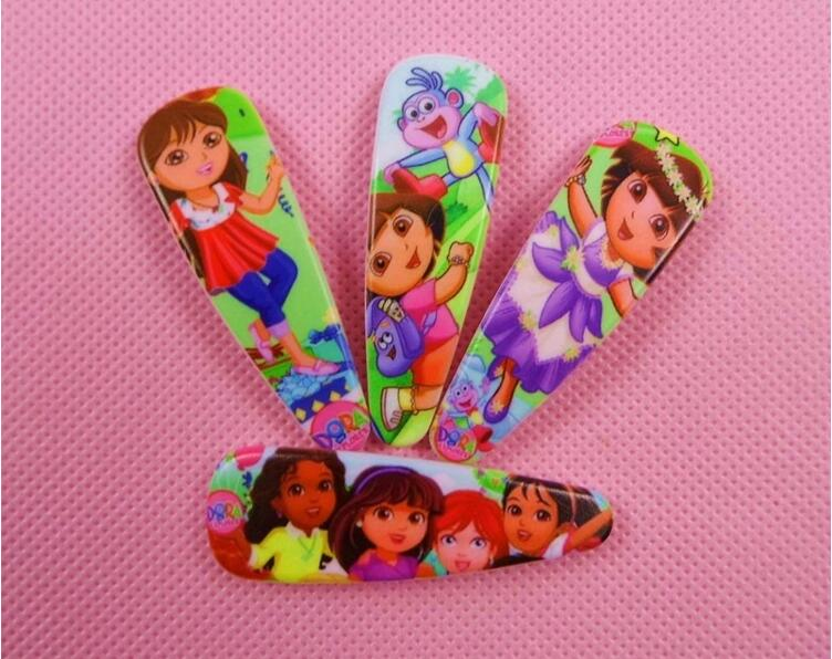 50pcs/lot Children cartoon DORA hair clips, hair accessories plastic hairpin headdress BB clip(China (Mainland))
