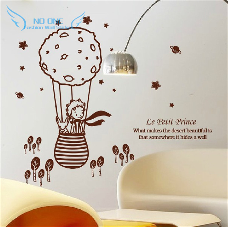 cute creative big size 112.5 x 98 cm for kids rooms little prince and the fox Removable wall stickers home decoration(China (Mainland))