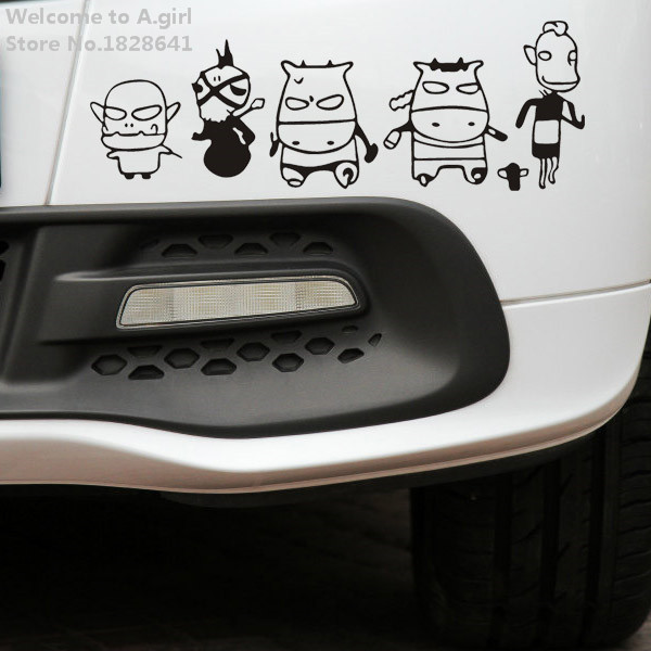 """Personality """"cartoon group of five people"""" reflective stickers 29 * 10cm car styling Toyota auto for all new models(China (Mainland))"""