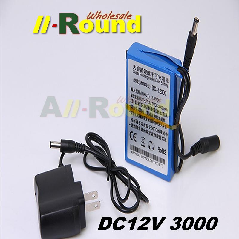3000mAh DC 12V 12.6V Super Rechargeable Li-ion Battery Pack Portable for transmitter CCTV camera free shipping(China (Mainland))