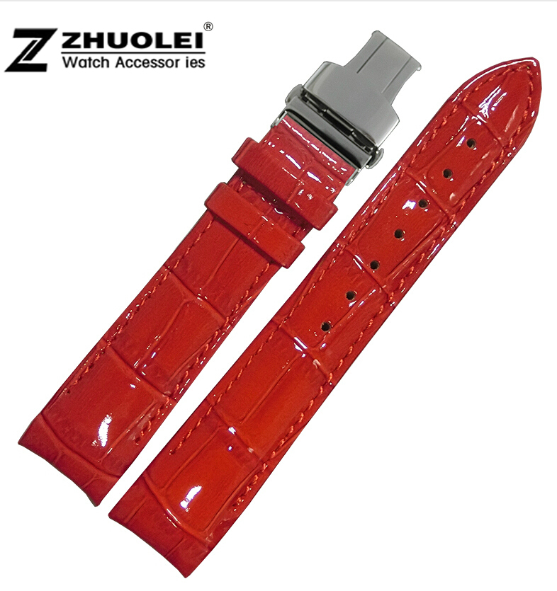 New 18mm Red Alligator Pattern Genuine Leather Watch Bands Straps Bracelets Polished Steel Butterfly Clasp Buckle For women T035