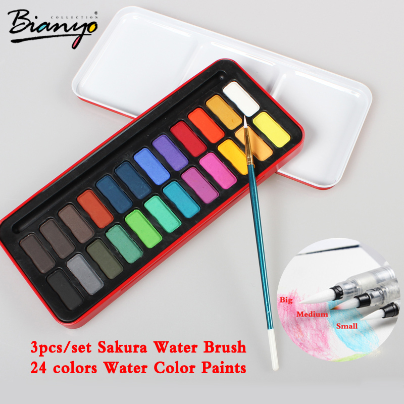 Watercolor 24 Water Color Paints set Red tin packaging children gift Solid Watercolor Set and 3pcs/set Sakura Water Brush(China (Mainland))