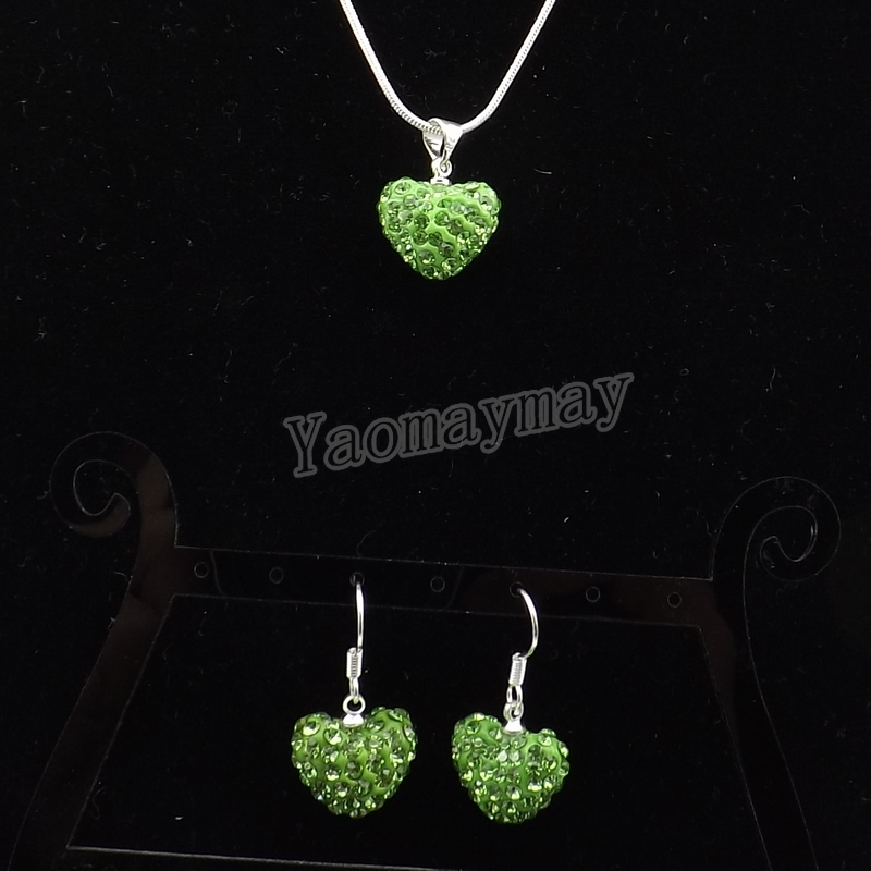 Heart Shape Rhinestone Jewelry Set Light Green Crystal Earrings And Necklace 5 Sets Wholesale Free Shipping(China (Mainland))