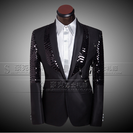 2014 wedding suits men plus size clothing set groom sequined dress black casual tuxedo jacket mens best prom