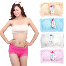 Hot New Arrival Lady Seamless Stretch Strapless Lace Boob Tube Top Padded Bandeau Sport Bra