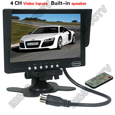 Free shipping  7 inch TFT LCD CCTV Car Quad Monitor 4 Channels Video Input w/Speaker<br><br>Aliexpress