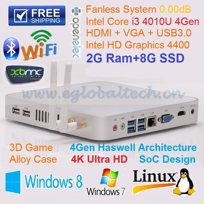 New Fanless Computer i3 4010u Core Gigabit LAN Haswell Design Support 3D Gaming PC 2G RAM 8GB SSD WIFI Bluetooth HDMI Cable free(China (Mainland))