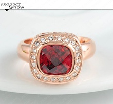 LZESHINE Brand Ruby Diamond Retro Noble Ladies Rings Real 18K Rose Gold Plated Elegant Simulated Ring