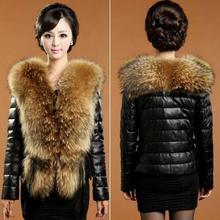 Women Wide Lapel Faux Fur Collar Long Sleeve Imitation Sheep Leather Outwear Jacket #65252 (China (Mainland))
