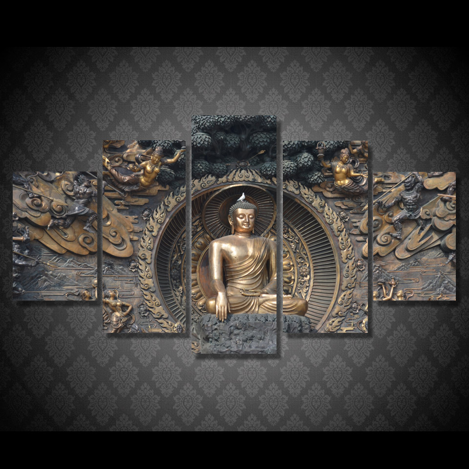 Buy hd printed buddha statue painting for 3d clay mural painting