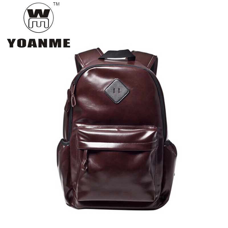 YOANME Brand New Brown Patent Leather Men Backpack Preppy Luxury PU Backpack For Men Fashion Teenager Tote Backpack SY1284(China (Mainland))