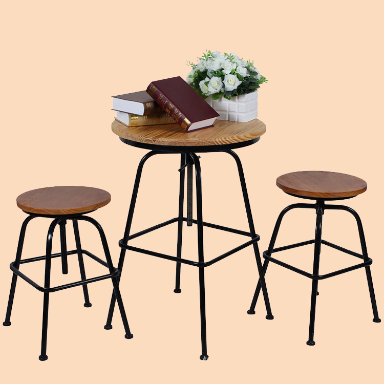 Excellent natural wood furniture, wrought iron outdoor leisure home cafe tables and chairs adjustable wood round dining tables a(China (Mainland))