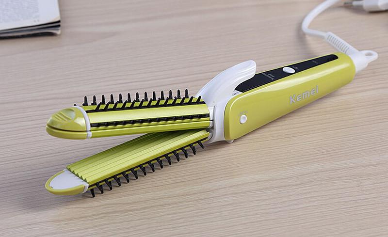 Kemei 3 In 1 Electric Hair Curler Hair Straightener Hair
