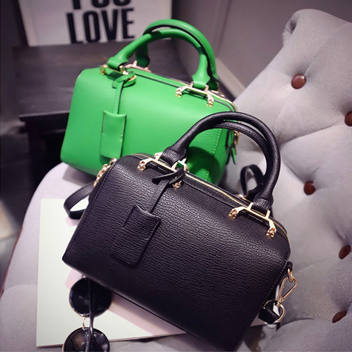 Women's High Quality Genuine PU Leather Macaroon Handbags Ladies Black Brief Boston Tote Bags Fashion Messenger Bags For Female(China (Mainland))