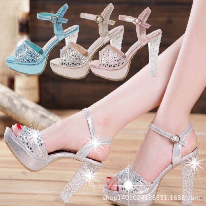 2014 summer styles luxurious Symphony Crystal diamond chunky heels platform high heel Sandals shoes factory outlet - sanpu ma's store
