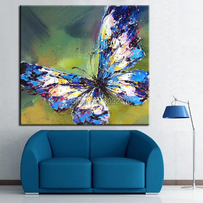 Hot Hand Painted Animal Picture On Canvas Butterfly Oil Painting For Living Room Wall Decor Abstract Painting Craft(China (Mainland))
